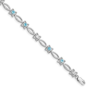 Sterling Silver Rhodium-plated Blue Topaz & Diamond Bracelet