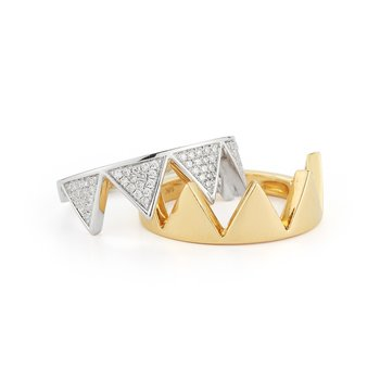 Two rings form in to one Puzzle ring . 14K Two Tone & 0.37ct in diamonds.