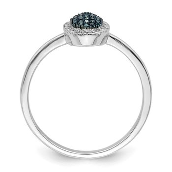 Sterling Silver Rhod Plated Blue Diamond Oval Ring