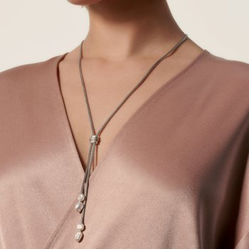 Classic Chain Lariat Necklace in Silver with Gemstone