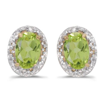 14k Yellow Gold Oval Peridot And Diamond Earrings