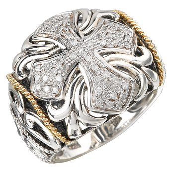 18K/SILVER FILIGREE WITH CROSSDESIGN DIAMOND RING D.21CTW