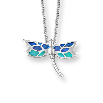 Fine Enamels Sterling Silver Dragonfly Necklace-Turquoise