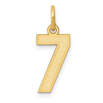 14k Small Satin Number 7 Charm