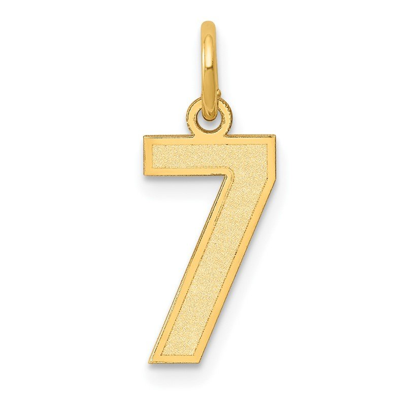 Quality Gold 14k Small Satin Number 7 Charm
