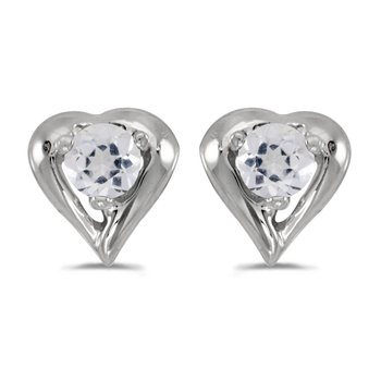 10k White Gold Round White Topaz Heart Earrings