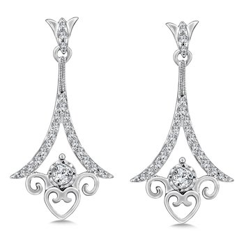 Diamond Drop Earrings in 14K White Gold (.33 ct. tw.)