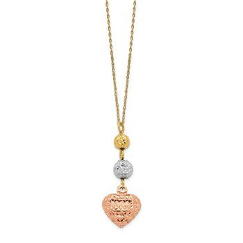 14K Tri-color Ropa Diamond Cut Beads & Heart w/ 2in Ext Necklace