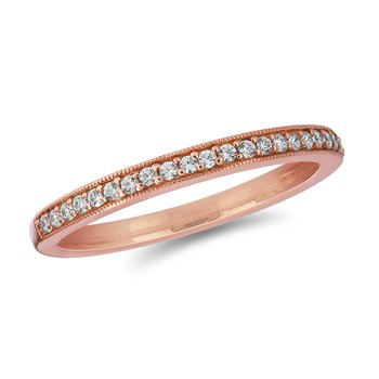 14K RG Diamond Milgrained Edge Wedding Band