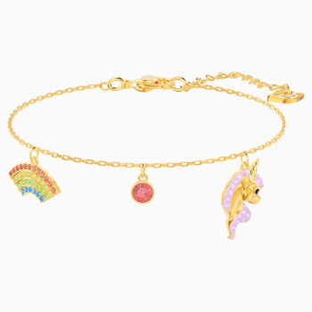 Out of this World Unicorn Bracelet, Multi-colored, Gold-tone plated