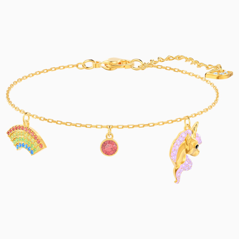 Swarovski Out of this World Unicorn Bracelet, Multi-colored, Gold-tone plated