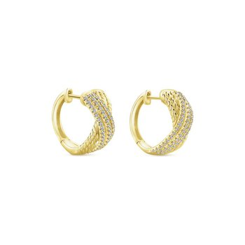 14K Yellow Gold Twisted 10mm Diamond Huggie Earrings