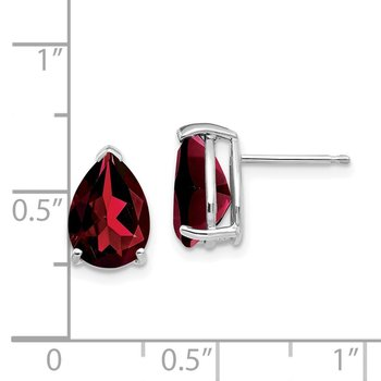 14k White Gold 10x7mm Pear Garnet Earrings