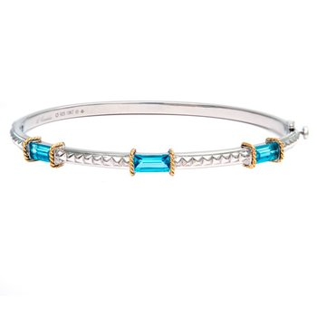 18kt and Sterling Silver Blue Topaz Bangle