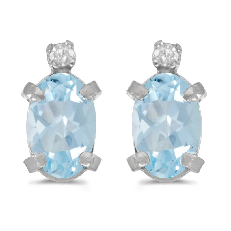Color Merchants Sterling Silver Oval Aquamarine and Diamond Earrings