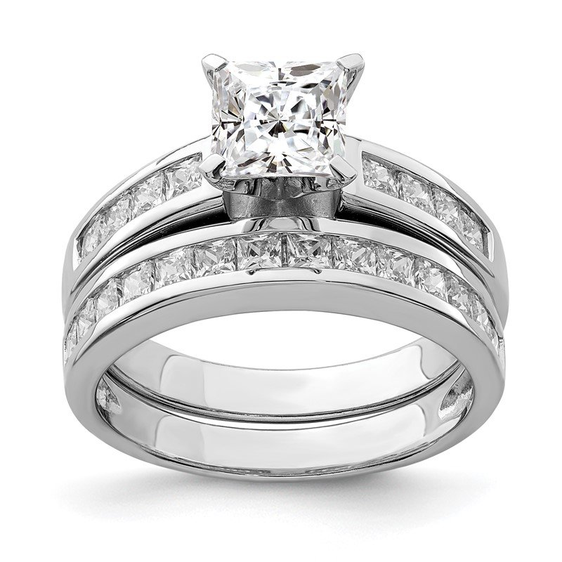Quality Gold Sterling Silver Rhodium-plated 2-Piece CZ Size 6 Wedding Set Ring