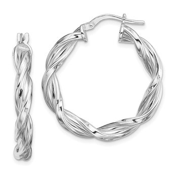 Sterling Silver Rhodium-plated 4mm Twisted Hoop Earrings