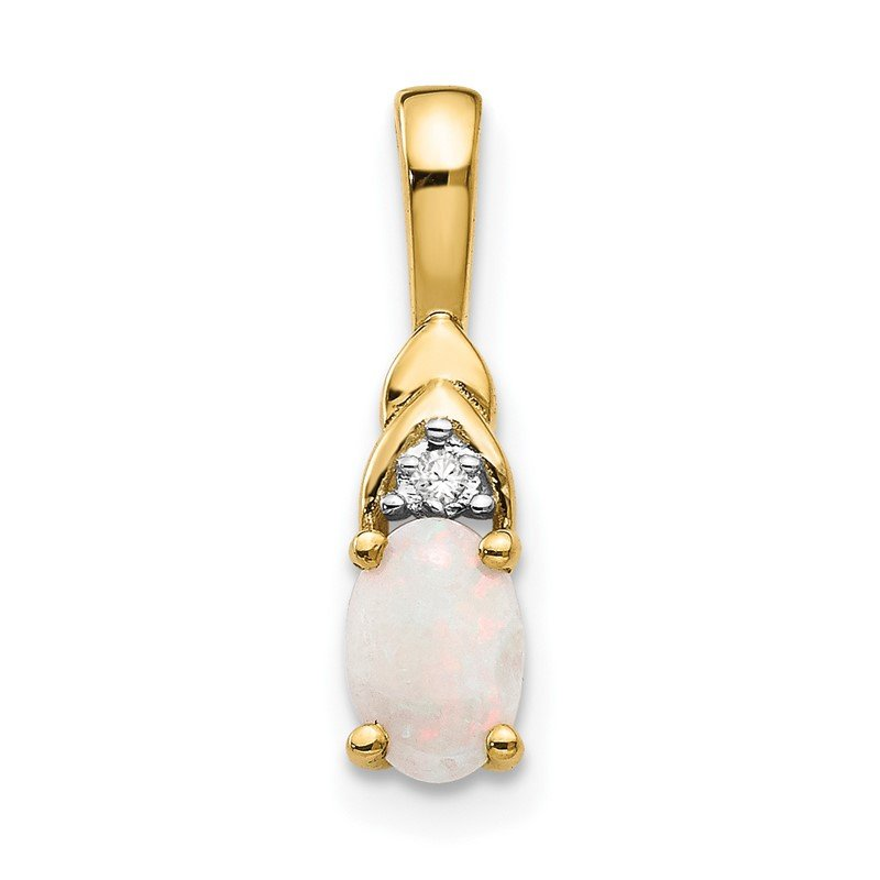 Quality Gold 14k Opal and Diamond Pendant