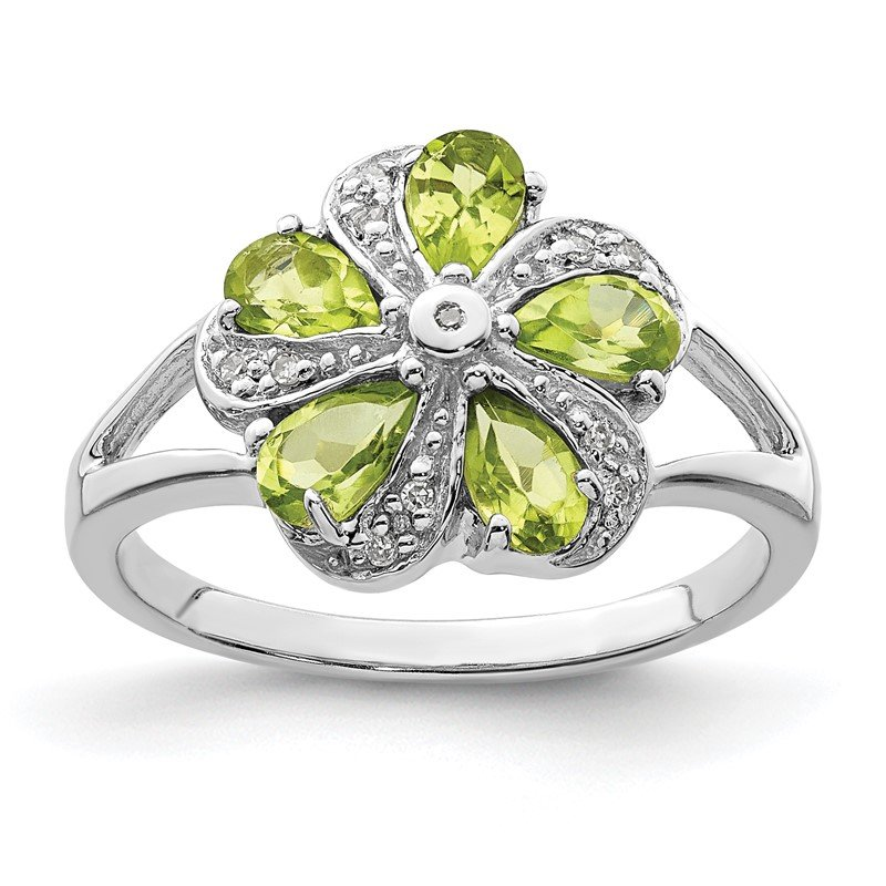 Quality Gold Sterling Silver Rhodium Peridot Diamond Ring