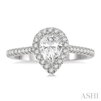 PEAR SHAPE SEMI-MOUNT DIAMOND ENGAGEMENT RING