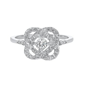 Diamond Infinity Love Heart Knot Promise Ring in 14k White Gold (1ctw)