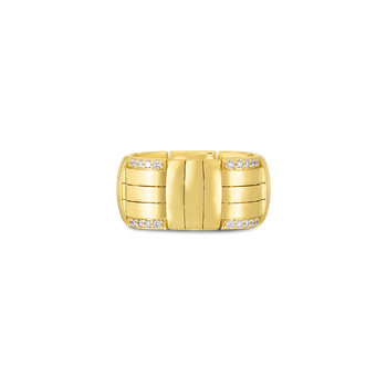 18K VENETO WOVEN WIDE RING W. DIAMOND ACCENT