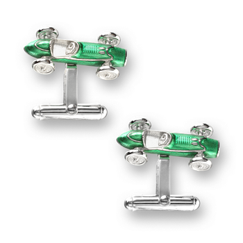Sterling Silver Racecar T-Bar Cufflinks-Green.