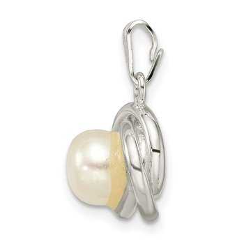 Sterling Silver Polished Freshwater Cultured Pearl Pendant