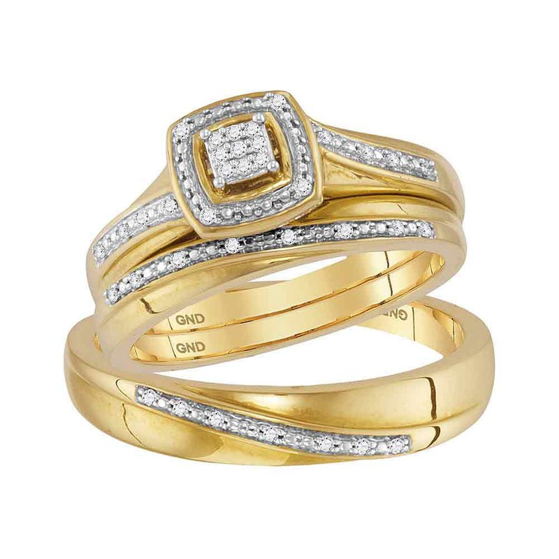 Gold-N-Diamonds 10kt Yellow Gold His & Hers Round Diamond Square Cluster Matching Bridal Wedding Ring Band Set 1/12 Cttw
