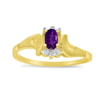 10k Yellow Gold Oval Amethyst And Diamond Satin Finish Ring