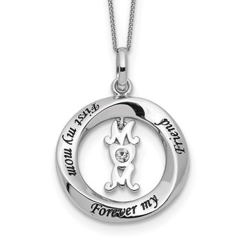Sterling Silver CZ FIRST MY MOM, FOREVER MY FRIEND Necklace