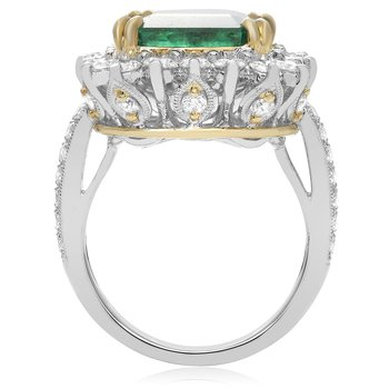 Paved Shank Emerald Ring