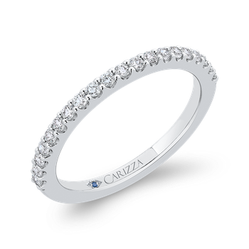 14K White Gold Round Half-Eternity Diamond Wedding Band