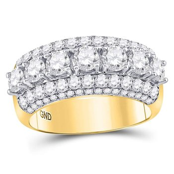 14kt Yellow Gold Womens Round Diamond Triple Row Band Ring 3.00 Cttw