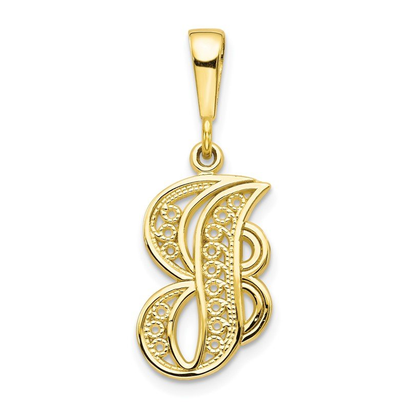Quality Gold 10k Initial J Pendant