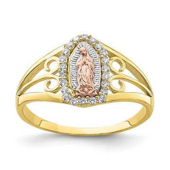 10K Two-Tone w/White Rhodium CZ Guadalupe Ring