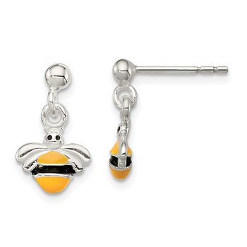 Sterling Silver Children's Enameled Bee Post Dangle Earrings