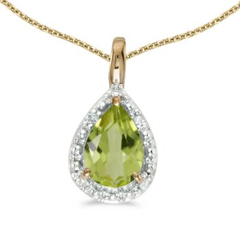 10k Yellow Gold Pear Peridot Pendant