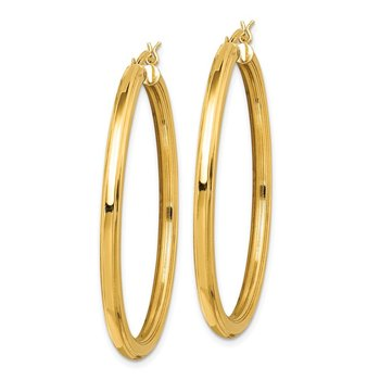 Sterling Silver Gold Flash Plated 3x45mm Grooved Hoop Earrings