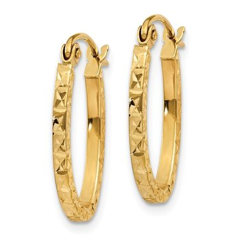14K Diamond Cut Oval Hollow Hoop Earrings
