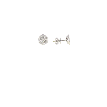 18Kt White Gold Diamond Cluster Stud Earrings