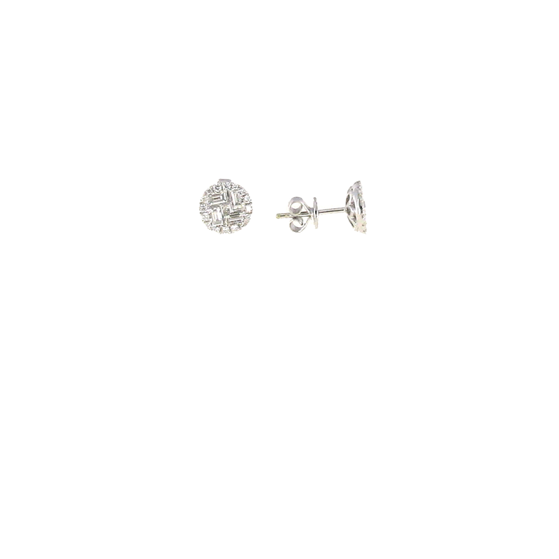 Roberto Coin 18Kt White Gold Diamond Cluster Stud Earrings