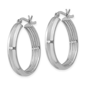Sterling Silver Rhodium Plated 4.5x25mm Hoop Earrings