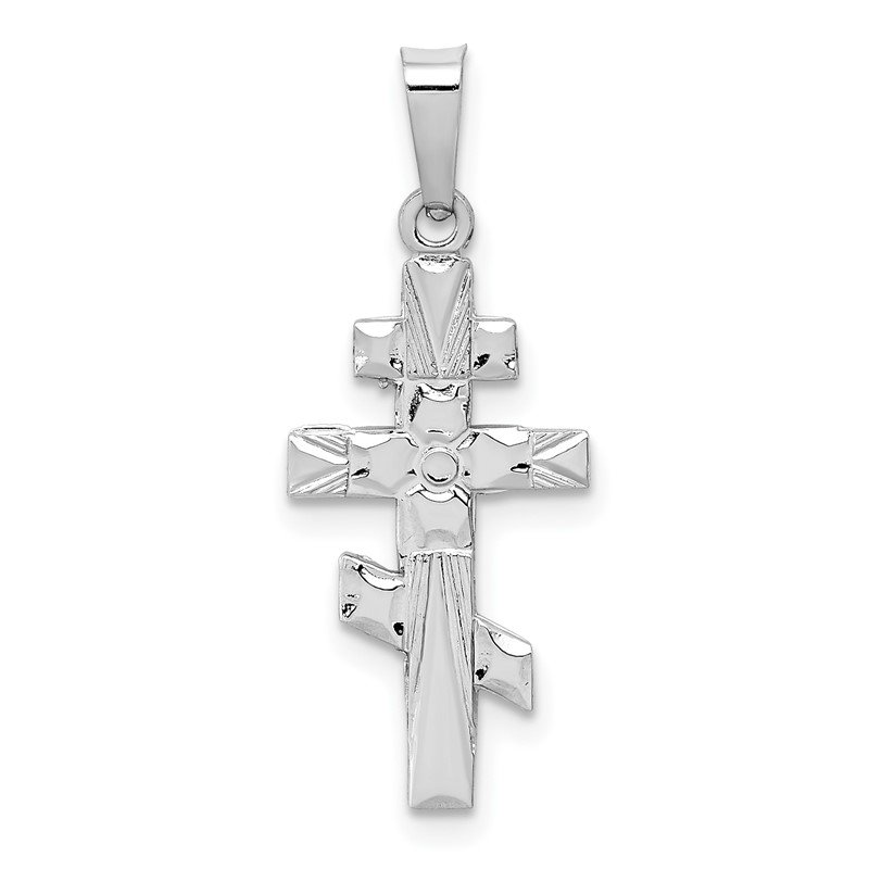 Quality Gold 14k White Gold Eastern Orthodox Cross Charm