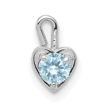 14k White Gold March Synthetic Birthstone Heart Charm