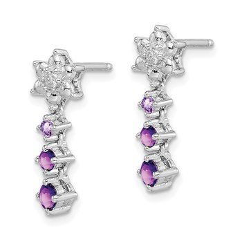 Sterling Silver Rhodium-plated Pink Quartz & Quartz Diamond Earrings