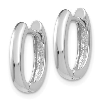 14k White Gold Oval Hinged Hoop Earrings