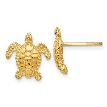 14k Sea Turtle Post Earring