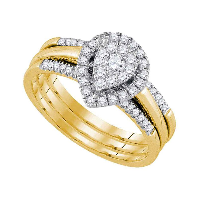 Gold-N-Diamonds, Inc. (Atlanta) 10kt Yellow Gold Womens Diamond Teardrop Cluster Bridal Wedding Engagement Ring Band Set 1/2 Cttw