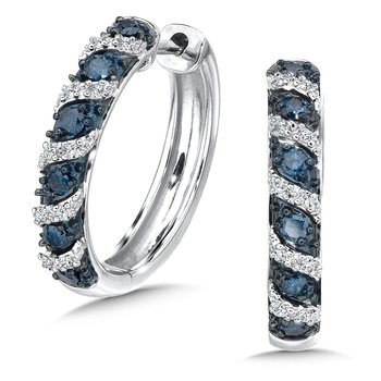 Pave set Blue & white diamond hoop in 14k White gold, (1/3 ct. tw.)